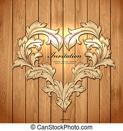 Frame of leaf on wood texture for your design