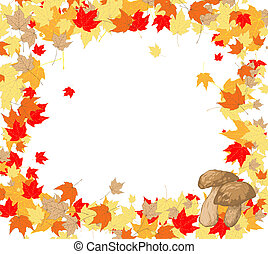 Frame of maple leaves and mushrooms - autumn background with...
