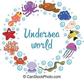 Frame of marine life. Ocean fauna, underwater.