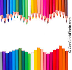 frame of multicolored pensils