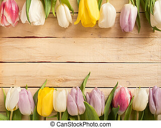Frame of multicolored tulips on wooden background