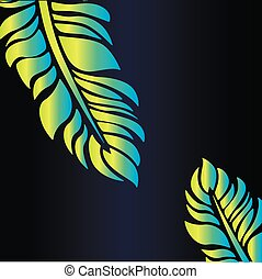 frame of neon feathers on a blue gradient background