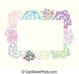 Frame of neon succulents with a top view on a white background