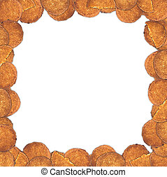 Frame of oatmeal cookies on a white background