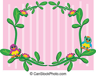 Frame of Plants and Baby Birds