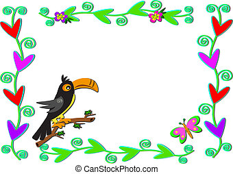 Frame of Plants, Hearts, and Toucan