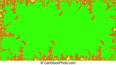 frame of real fire flames burn movement on chroma key, green screen background loop seamless ready