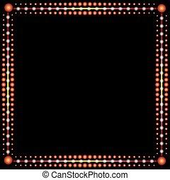 Frame made of red lights, vector art illustration background.