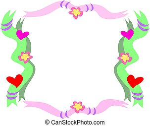 Frame of Ribbon, Hearts, Flowers