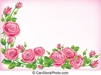 Frame of roses. Illustration contains transparent object....