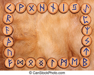 Frame of runes - frame of runes on the background of fur,...