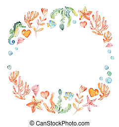 Frame of sea elements, Sea Horse, corals, bubbles, seashells, anchor, seaweeds. Ocean Kit. Can be used for t-shirt print, kids wear fashion, baby shower invitation