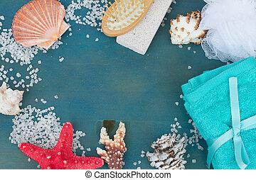 frame of sea salt and shells