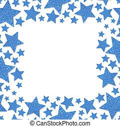 Frame of shiny blue metal stars isolated on white background. Glitter powder border