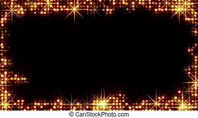 frame of shiny gold circles stars