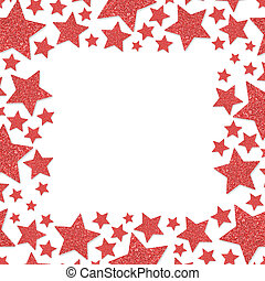 Frame of shiny red metal stars isolated on white background