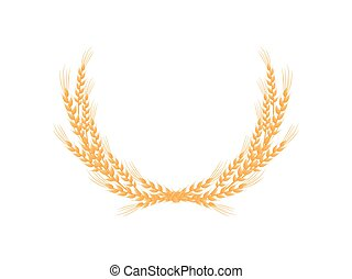 Frame of small wheat ears. Vector illustration on white background.