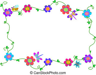 Frame of Spiral Flowers and Bugs