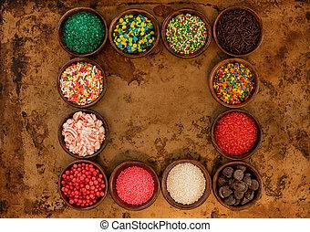 Frame of Sprinkles in Bowls