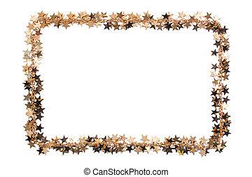 Frame of stars of confetti. Golden beads of shine stars. Festive decor on white