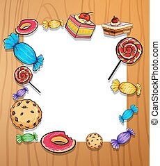 Frame of sweets and dessert