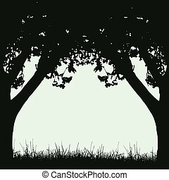 Frame of tree trunks and branches with foliage in retro style with space for text