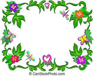 Frame of Tropical Flowers and Heart
