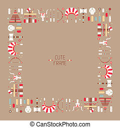Frame of vector colorful ethnic set with dream catcher, feathers, arrows and american indian chief headdress in native style. Decorative elements. Tribal native American set of symbols.