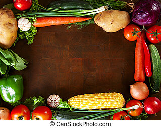 Frame Of Vegetables on a Wooden Table