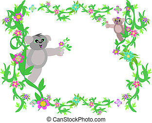 Frame of Vines and Koala Bears - This lush, green frame has...