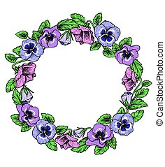 Frame of vintage botanical flowers. Violet, pansy wreath. Floral border, vector illustration. Great for wedding invitations, mothers day and birthday cards, posters, flyers.