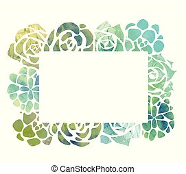 Frame of watercolor succulents with a top view on a white background.