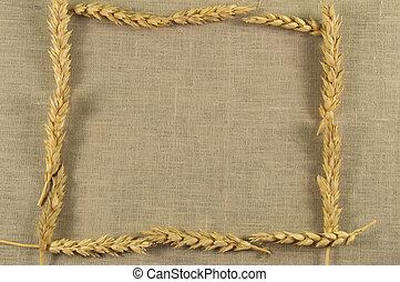 Frame of wheat ears on linen napkin