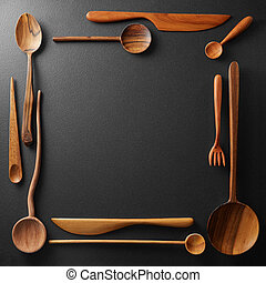 frame of wooden kitchen utensil