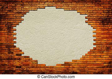 frame, omringde, papier, achtergrond, grungy, baksteen