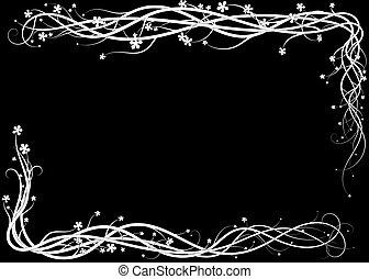 frame on a black background. ivy weaves scattering