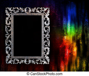 frame on a glowing grunge background