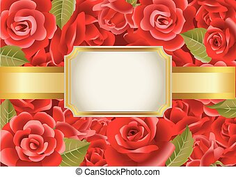 Frame on a red roses background