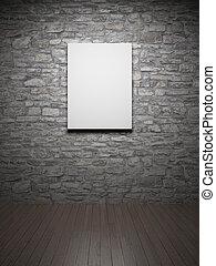 Frame on brick wall - Blank empty frame on brick wall
