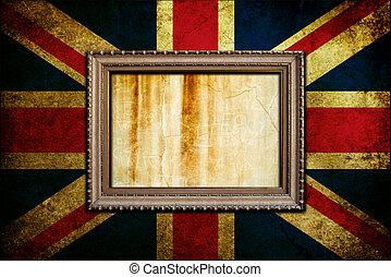 Frame on England flag - A Vintage frame on an England flag
