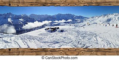 frame on ski slopes - ski slopes on a mountain landscape see...