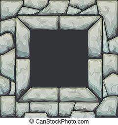 Frame on stone seamless pattern - Vector illustration of...