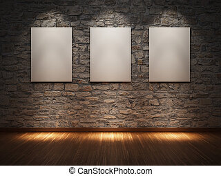 Frame on stone wall - Blank frame on stone wall illuminated...