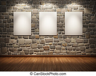 Frame on stone wall - Blank frame on stone wall illuminated...