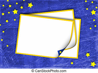frame on the blue abstract background with stars