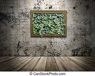 frame on the stone wall with green leaves inside