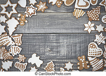 Frame on the wood from the gingerbreads