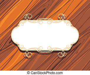 Frame on the wooden background