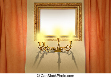 frame on wall with draperies