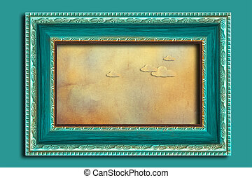 frame, op, een, ouderwetse , blauwe , wall.